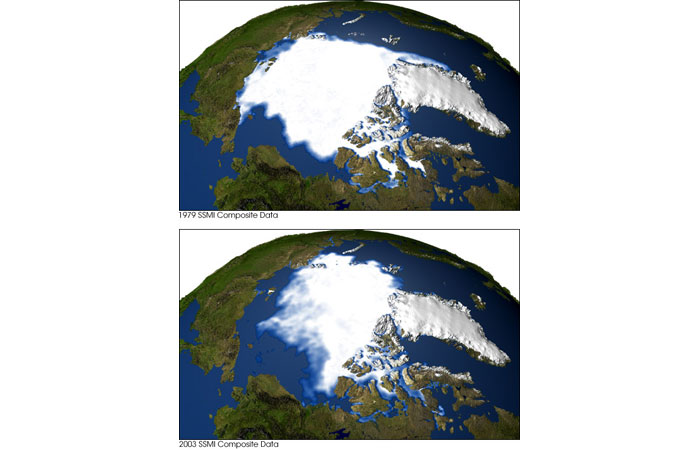 Arctic sea ice coverage, 1979 and 2003