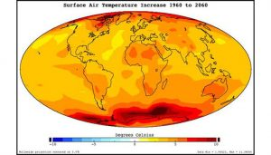 Surface air temperature increase, 1960 to 2060