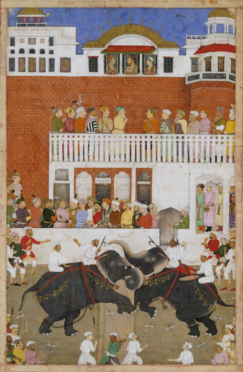 Shah Jahan Watching an Elephant Fight