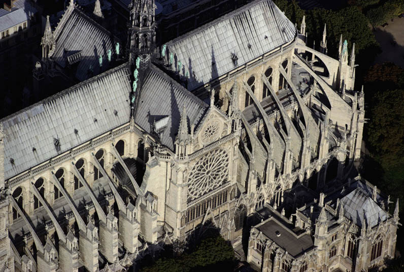 Aerial View of Notre Dame Cathedral