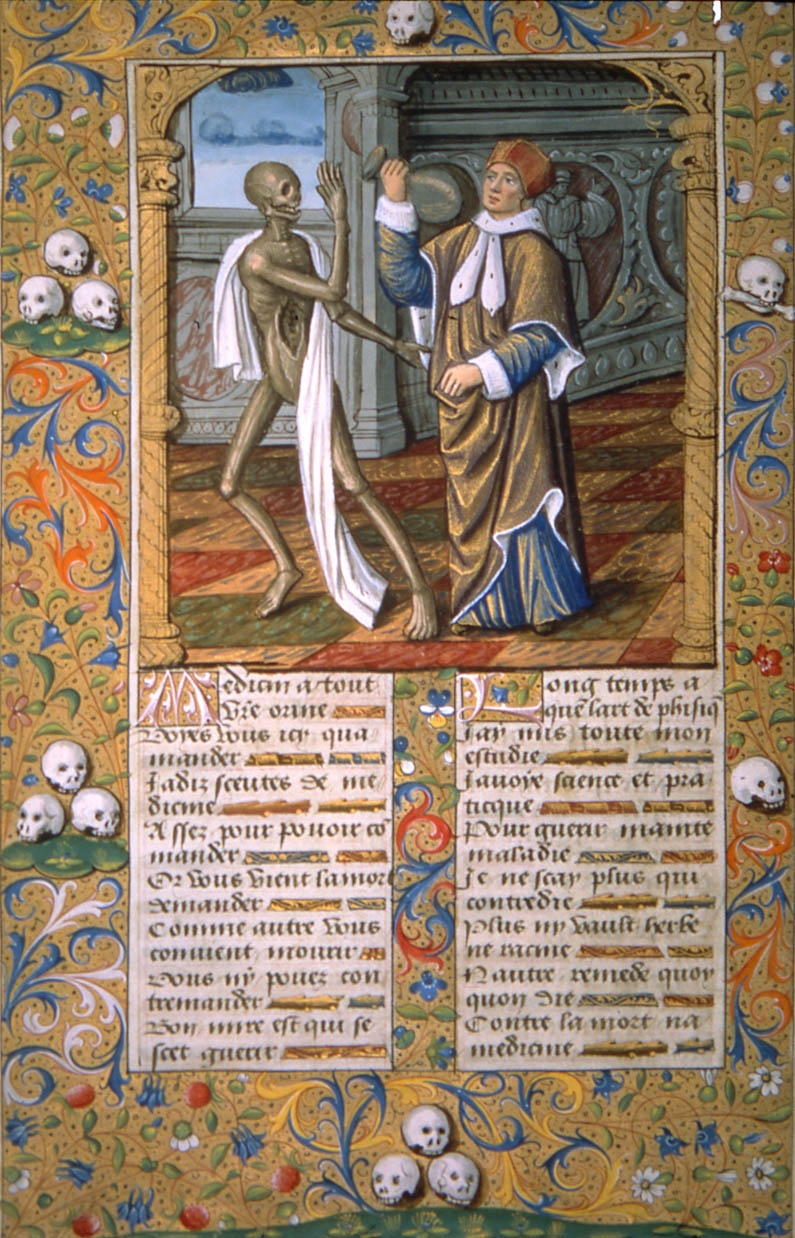 Death leading a doctor holding a vial of urine. La Danse Macabre.