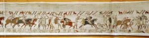 """""""Many fall in battle and King Harold is killed"""" (detail) from the Bayeux Tapestry"""