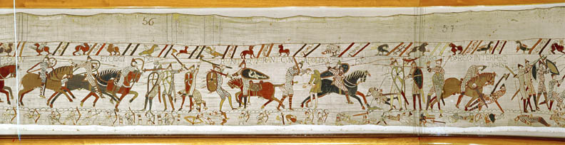 """Many fall in battle and King Harold is killed"" (detail) from the Bayeux Tapestry"