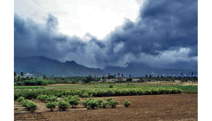 Monsoon rain clouds near Nagercoil, India, August 2006