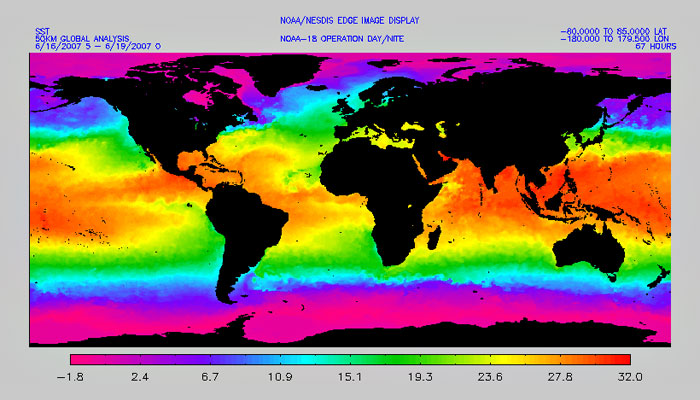Global sea surface temperatures, July 1-4, 2005